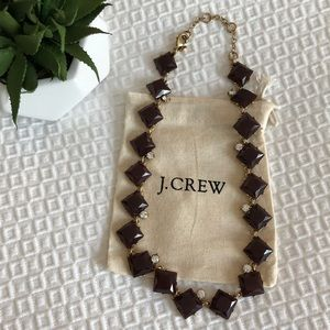 J. crew burgundy and diamond statement necklace
